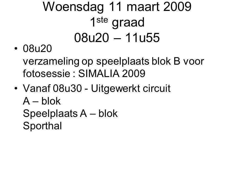 Woensdag 11 maart 2009 1ste graad 08u20 – 11u55