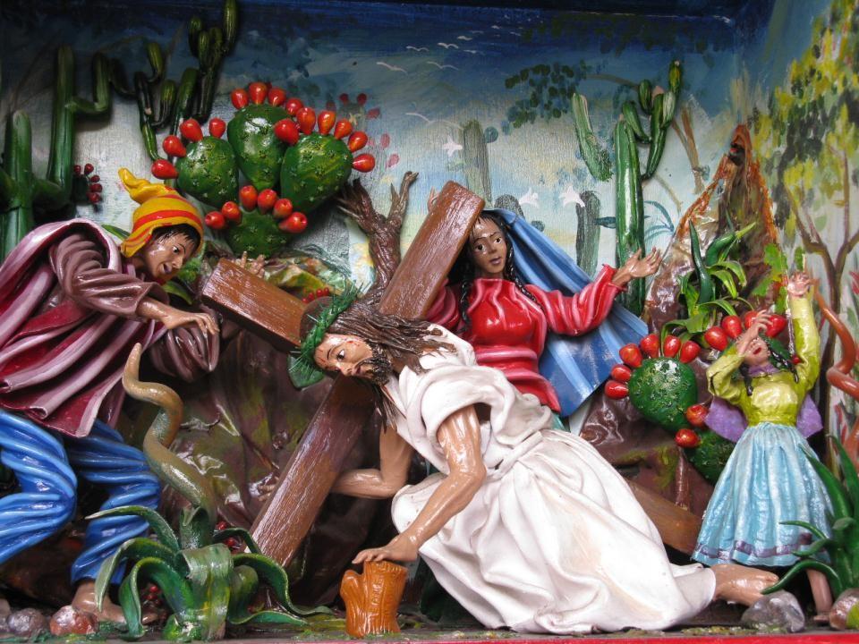Jezus is uitgeput van vermoeidheid en pijn en Hij valt voor de tweede keer.