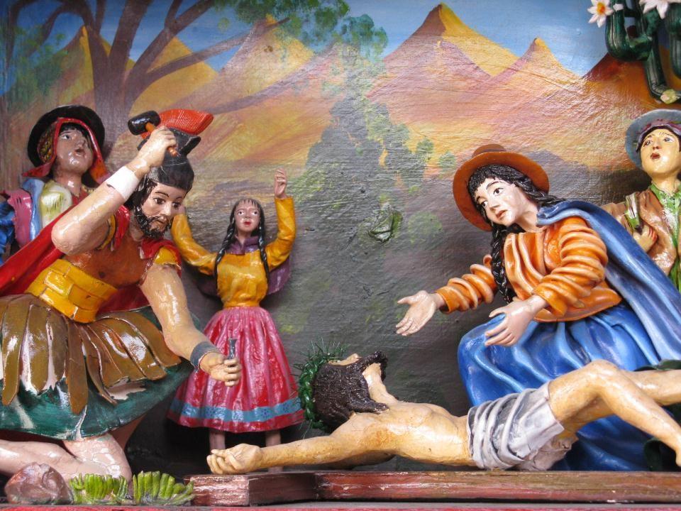 Jezus wordt aan het kruis vastgespijkerd, dwars door Zijn handen en voeten.