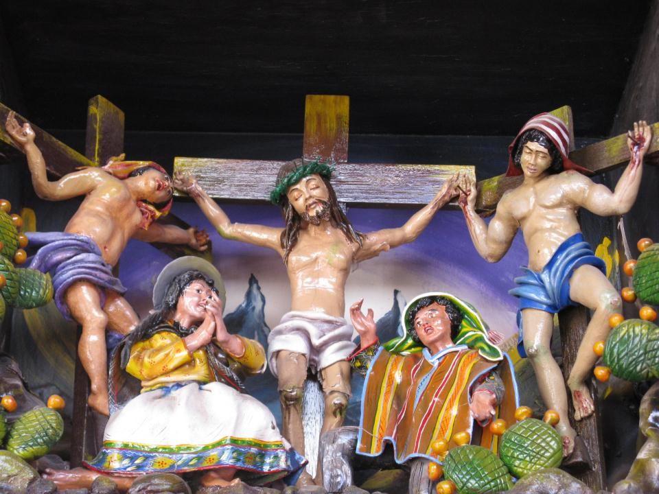 Jezus hangt aan het kruis. Hij roept: 'Eloi, Eloi, lema sebachtani