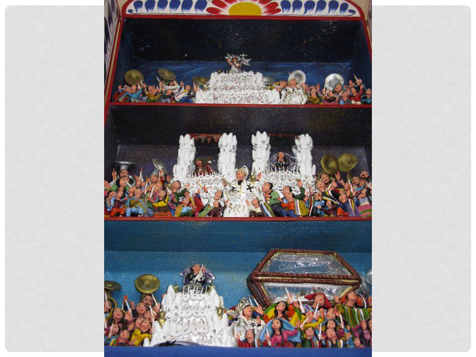 Een retablo met afbeeldingen van de verschillende processies op Pasen.