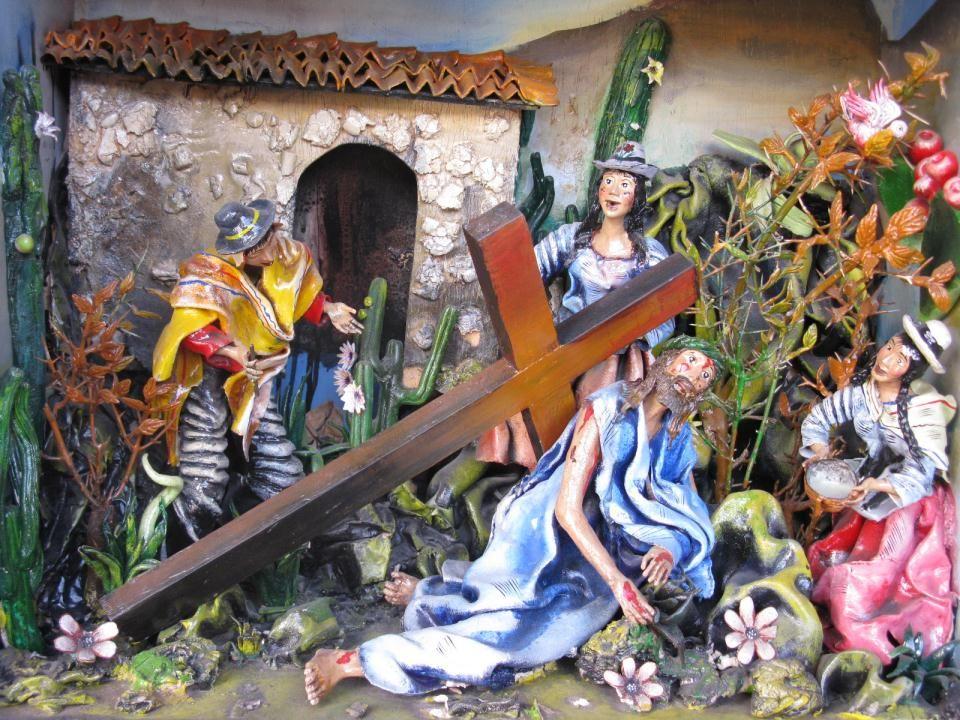 De moeder van Jezus wacht langs de weg. Ze ontmoet Jezus
