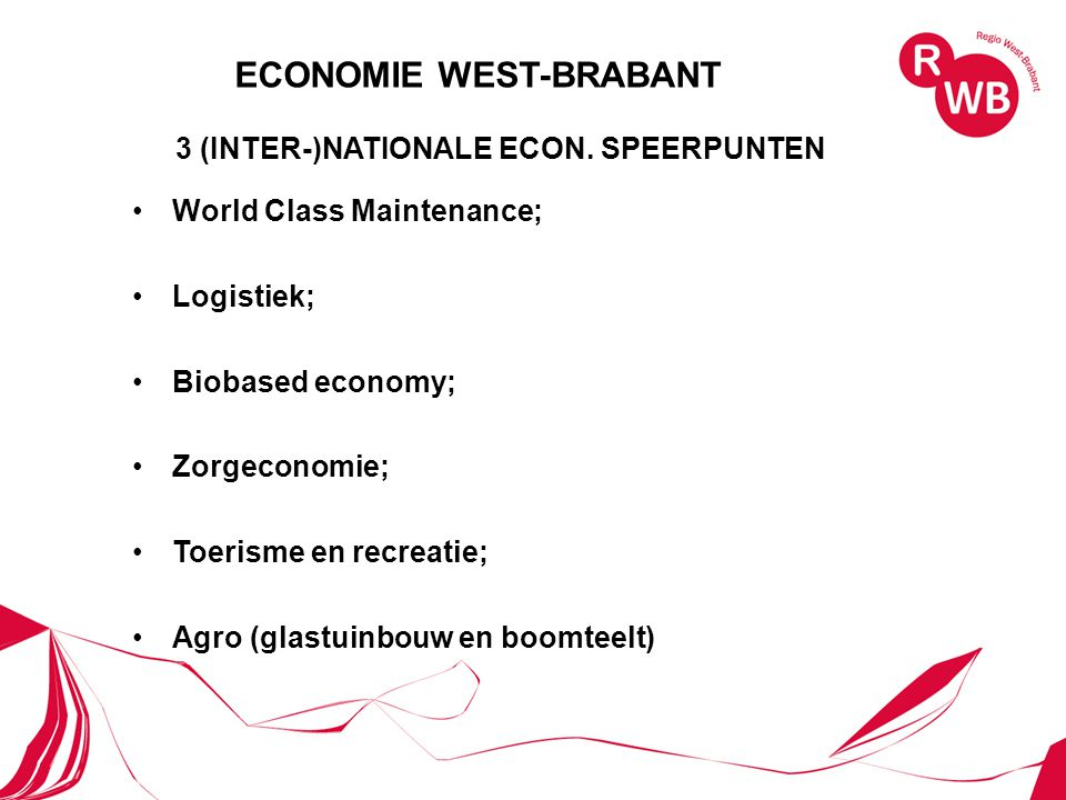 3 (INTER-)NATIONALE ECON. SPEERPUNTEN