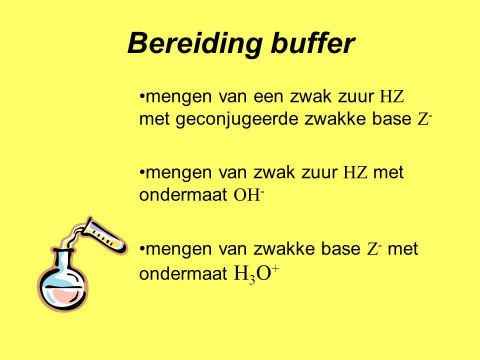Bereiding buffer mengen van een zwak zuur HZ met geconjugeerde zwakke base Z- mengen van zwak zuur HZ met ondermaat OH-