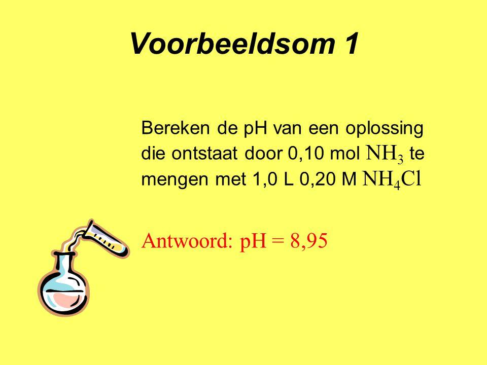 Voorbeeldsom 1 Antwoord: pH = 8,95
