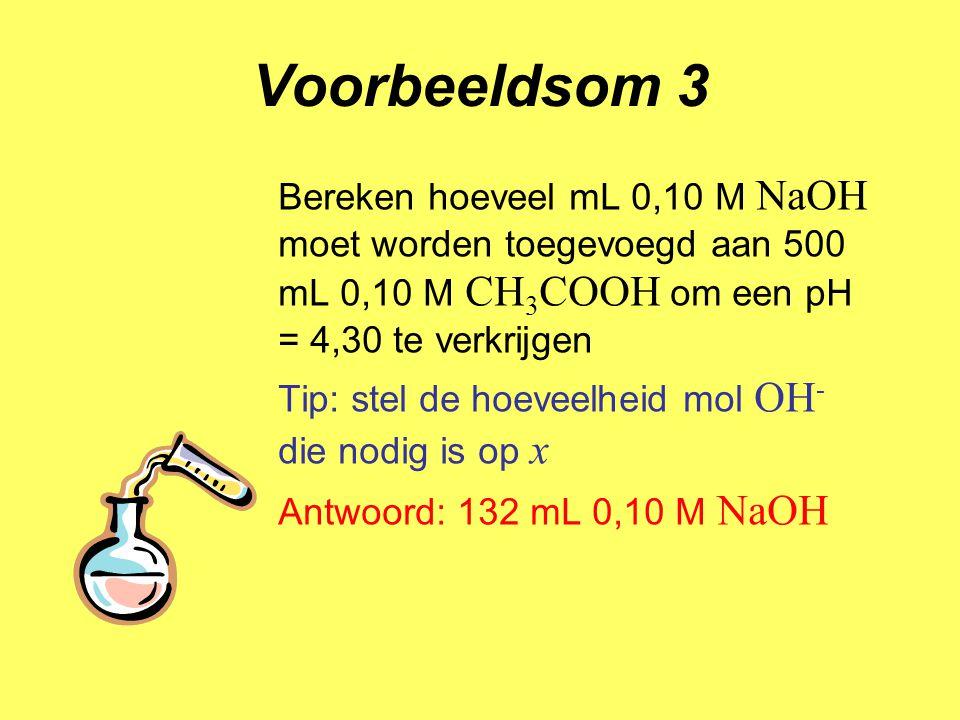 Voorbeeldsom 3 Bereken hoeveel mL 0,10 M NaOH moet worden toegevoegd aan 500 mL 0,10 M CH3COOH om een pH = 4,30 te verkrijgen.