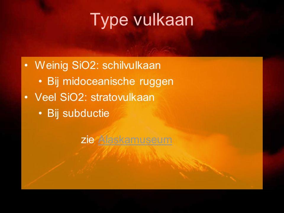 Type vulkaan Weinig SiO2: schilvulkaan Bij midoceanische ruggen