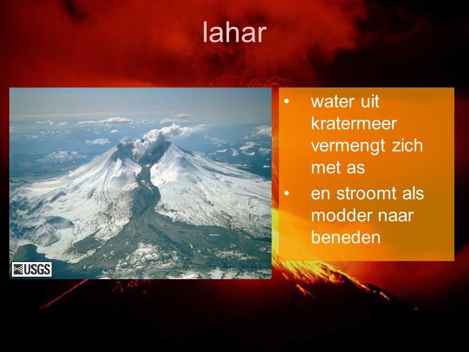 lahar water uit kratermeer vermengt zich met as