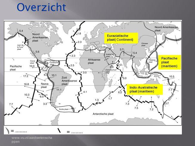 Overzicht Euraziatische plaat( Continent) Pacifische plaat (maritiem)