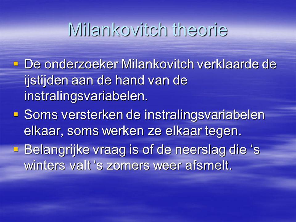 Milankovitch theorie De onderzoeker Milankovitch verklaarde de ijstijden aan de hand van de instralingsvariabelen.