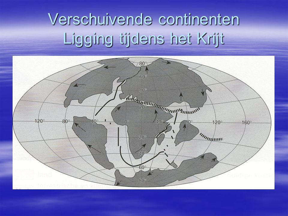Verschuivende continenten Ligging tijdens het Krijt