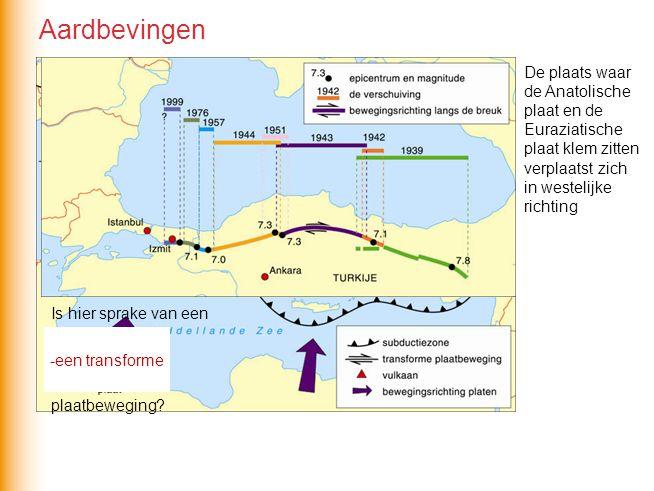 Aardbevingen De plaats waar de Anatolische plaat en de Euraziatische