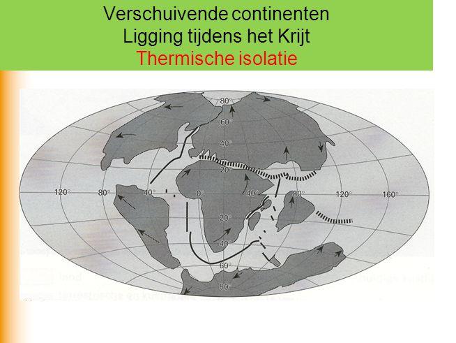Verschuivende continenten Ligging tijdens het Krijt Thermische isolatie