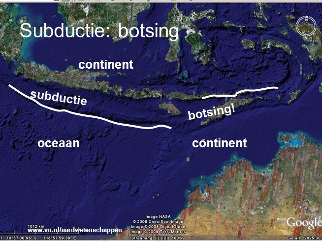 Subductie: botsing continent subductie botsing! oceaan continent