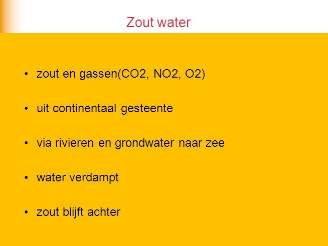 Zout water zout en gassen(CO2, NO2, O2) uit continentaal gesteente