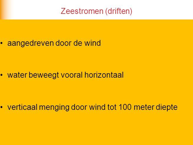 Zeestromen (driften) aangedreven door de wind. water beweegt vooral horizontaal.