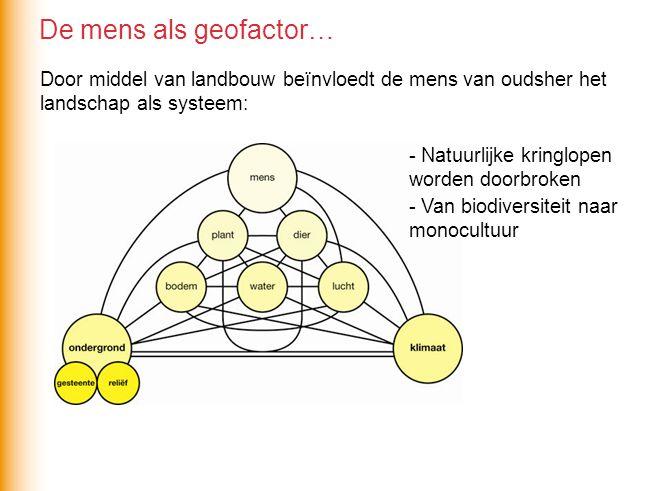 De mens als geofactor… Door middel van landbouw beïnvloedt de mens van oudsher het landschap als systeem: