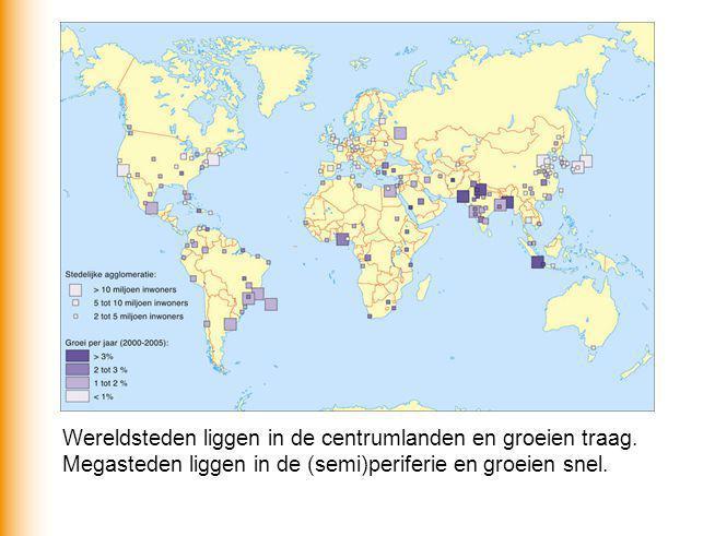 Wereldsteden liggen in de centrumlanden en groeien traag