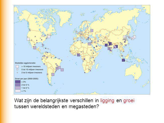 Wat zijn de belangrijkste verschillen in ligging en groei tussen wereldsteden en megasteden