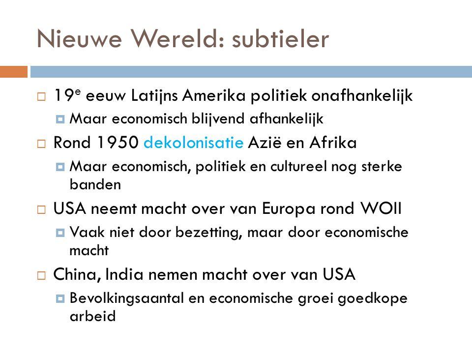 Nieuwe Wereld: subtieler