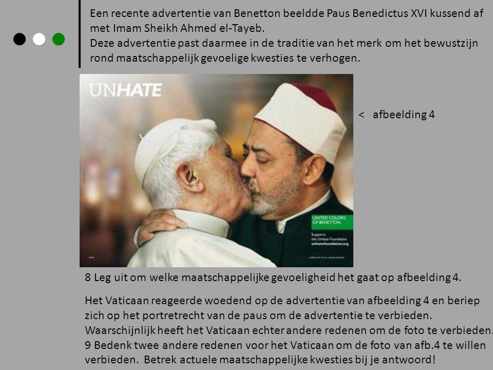 Een recente advertentie van Benetton beeldde Paus Benedictus XVI kussend af