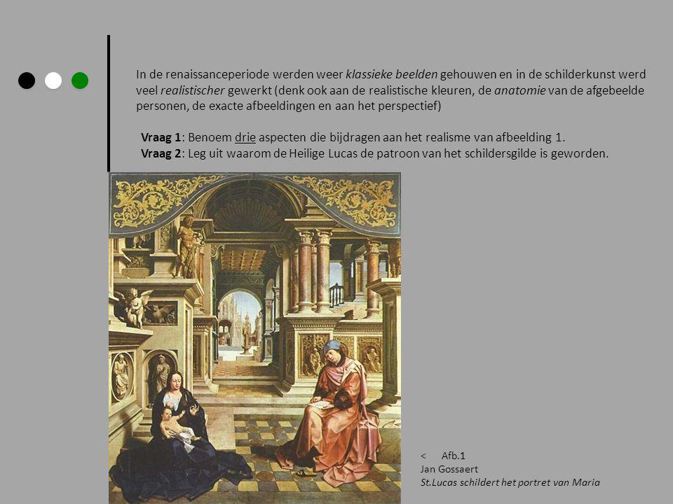 In de renaissanceperiode werden weer klassieke beelden gehouwen en in de schilderkunst werd veel realistischer gewerkt (denk ook aan de realistische kleuren, de anatomie van de afgebeelde personen, de exacte afbeeldingen en aan het perspectief)