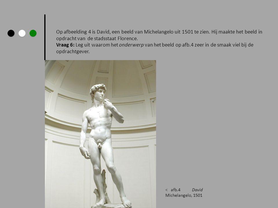 Op afbeelding 4 is David, een beeld van Michelangelo uit 1501 te zien