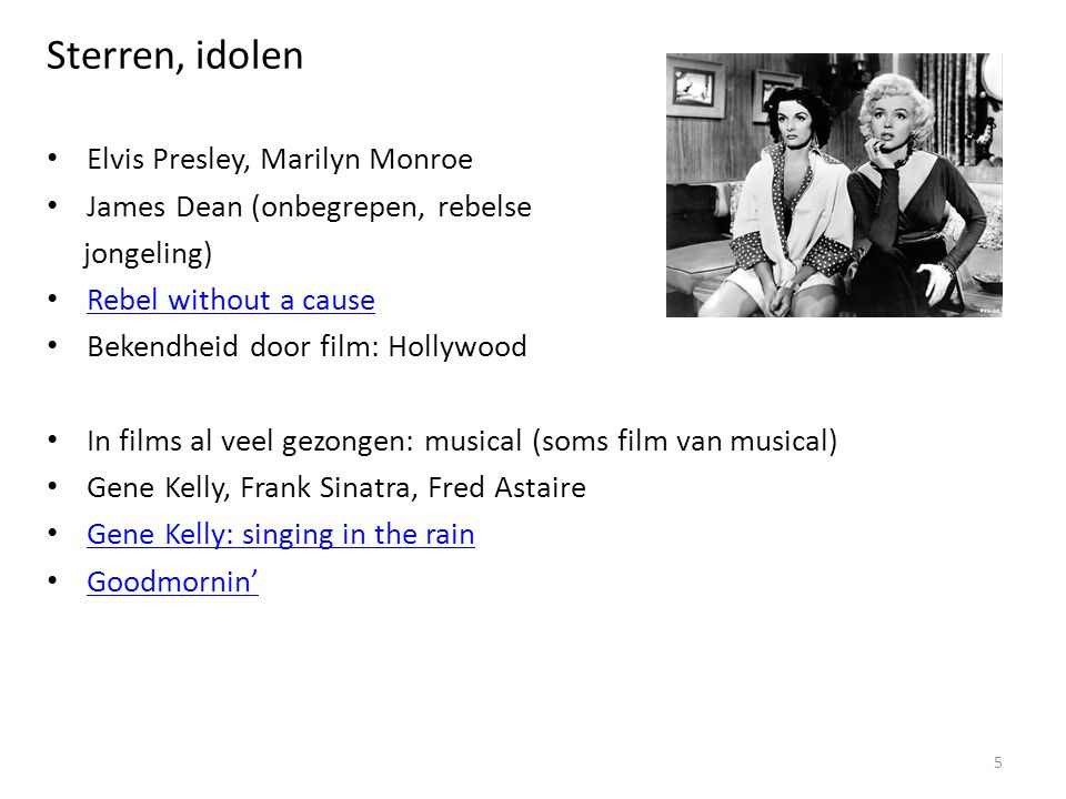 Sterren, idolen Elvis Presley, Marilyn Monroe
