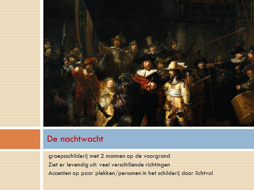 De nachtwacht groepsschilderij met 2 mannen op de voorgrond