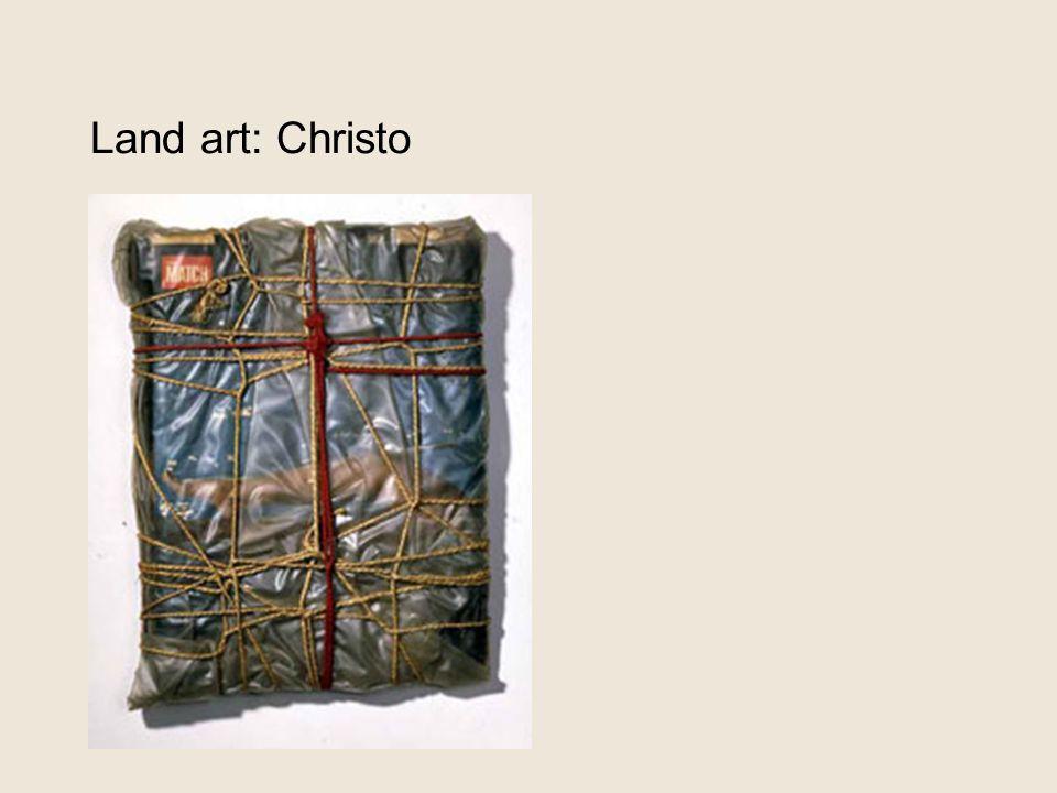 Land art: Christo 1962: 'wrapped magazines'