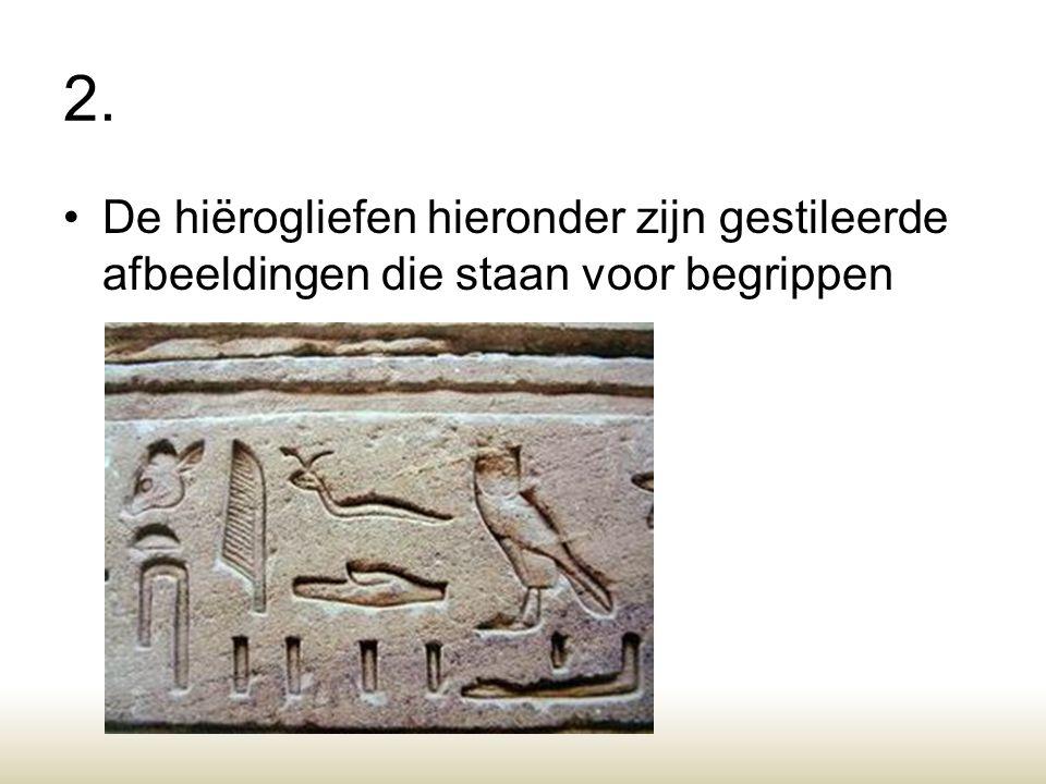 2. De hiërogliefen hieronder zijn gestileerde afbeeldingen die staan voor begrippen. Pictogram, gestileerd.