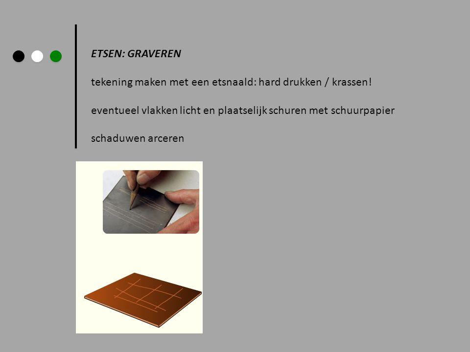 ETSEN: GRAVEREN tekening maken met een etsnaald: hard drukken / krassen! eventueel vlakken licht en plaatselijk schuren met schuurpapier.