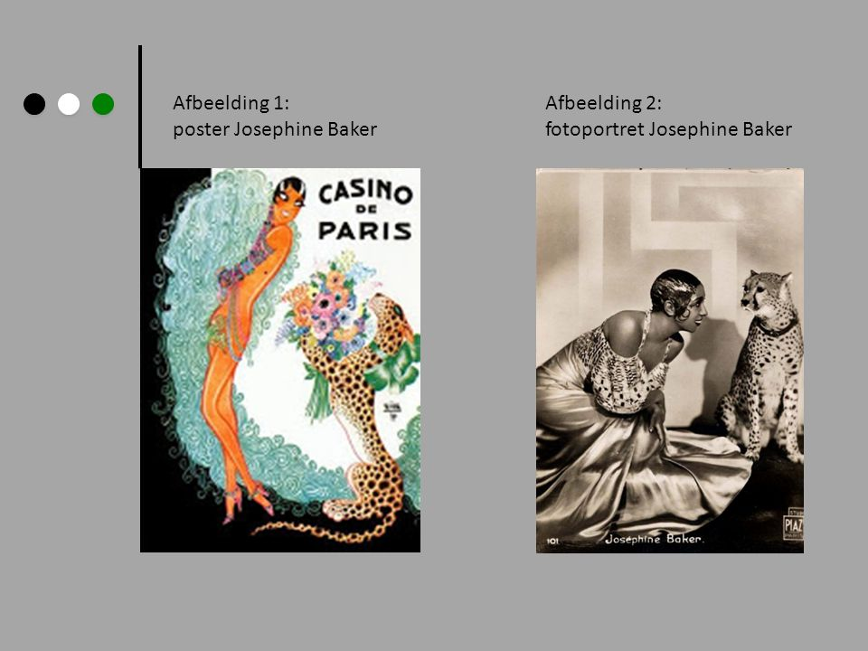Afbeelding 1: poster Josephine Baker Afbeelding 2: fotoportret Josephine Baker