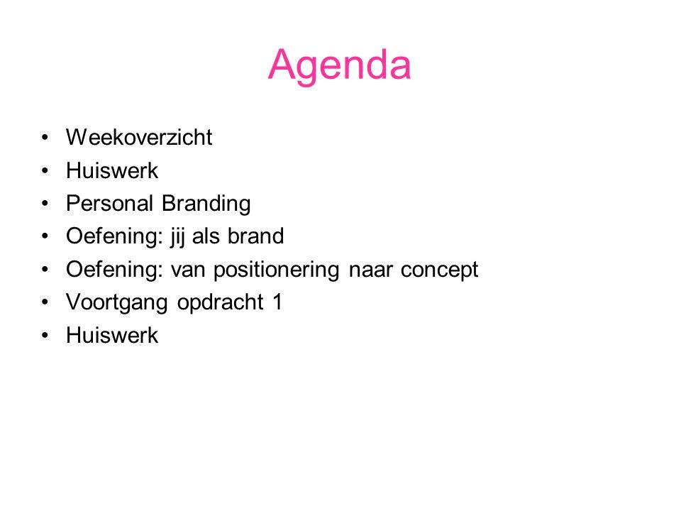 Agenda Weekoverzicht Huiswerk Personal Branding