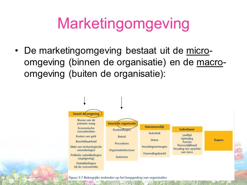 Marketingomgeving De marketingomgeving bestaat uit de micro-omgeving (binnen de organisatie) en de macro-omgeving (buiten de organisatie):