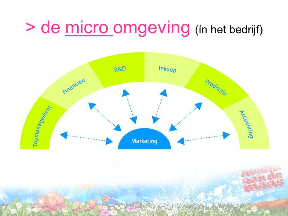 > de micro omgeving (ín het bedrijf)