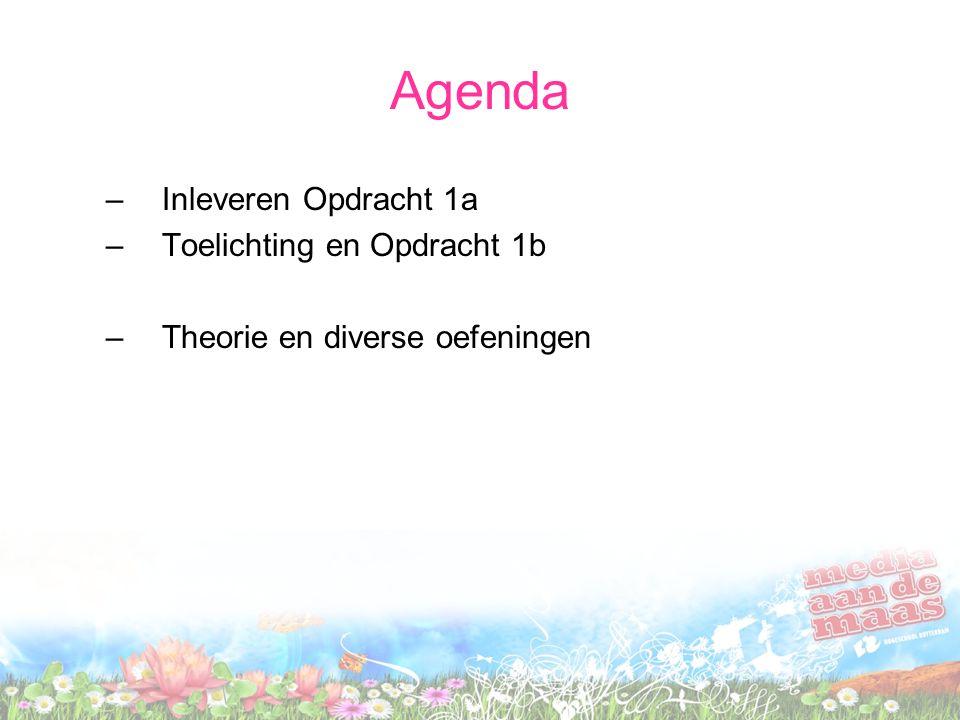 Agenda Inleveren Opdracht 1a Toelichting en Opdracht 1b