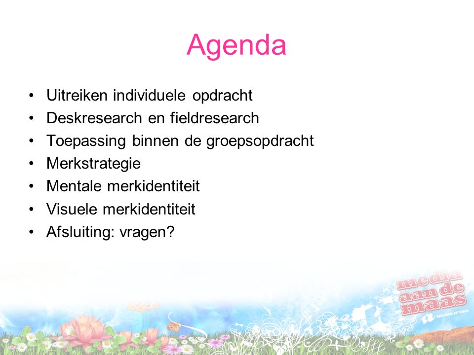 Agenda Uitreiken individuele opdracht Deskresearch en fieldresearch
