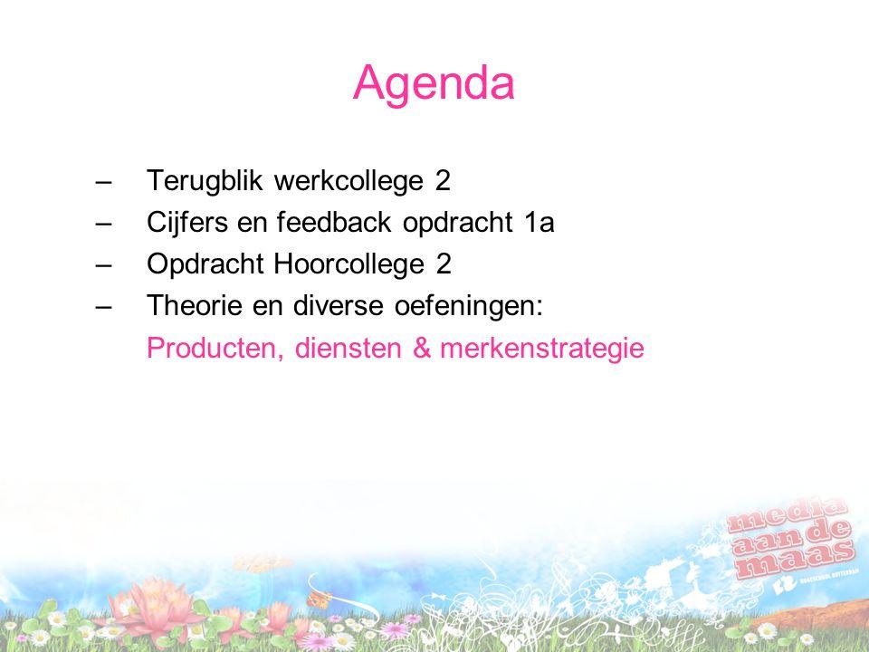 Agenda Terugblik werkcollege 2 Cijfers en feedback opdracht 1a