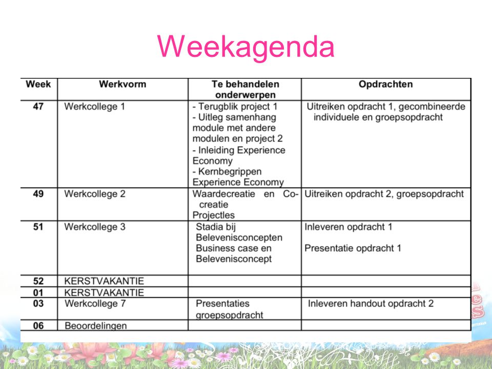 Weekagenda
