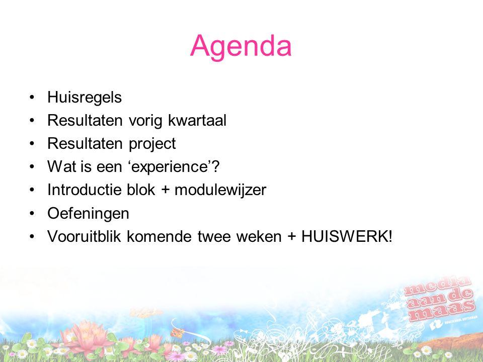 Agenda Huisregels Resultaten vorig kwartaal Resultaten project
