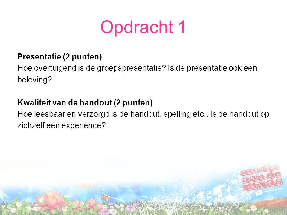Opdracht 1 Presentatie (2 punten)