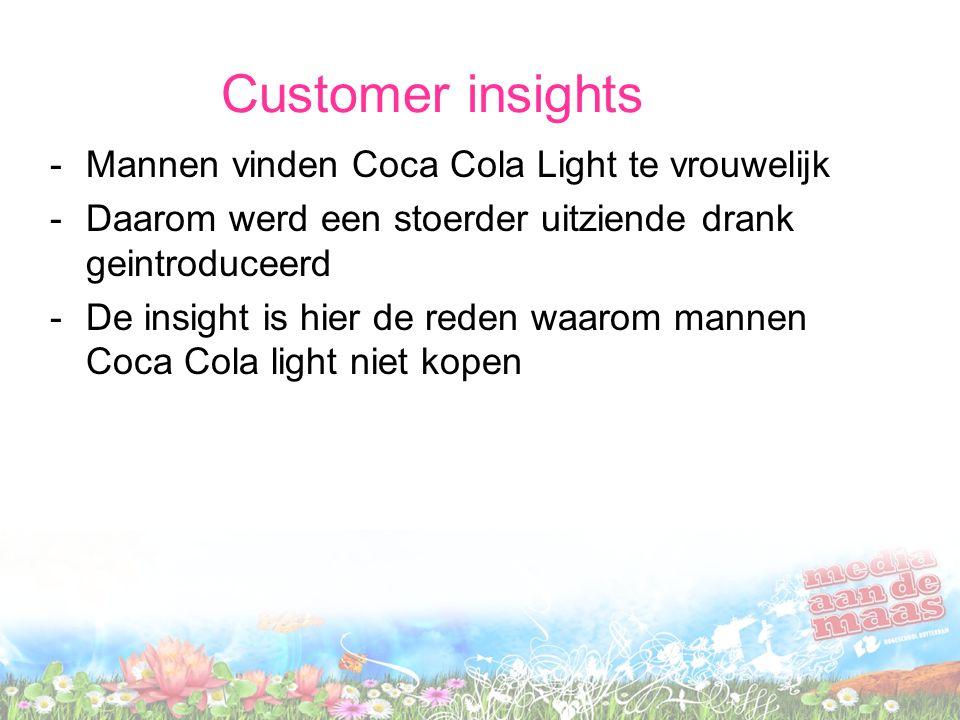 Customer insights Mannen vinden Coca Cola Light te vrouwelijk