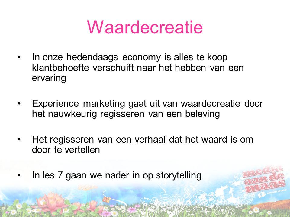 Waardecreatie In onze hedendaags economy is alles te koop klantbehoefte verschuift naar het hebben van een ervaring.