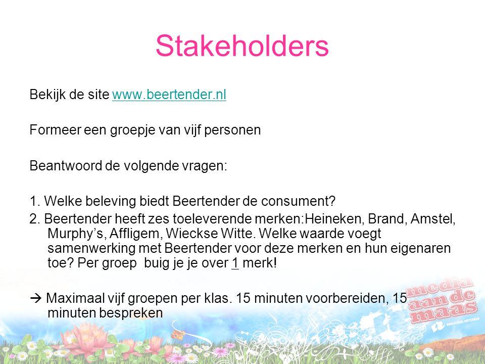 Stakeholders Bekijk de site www.beertender.nl