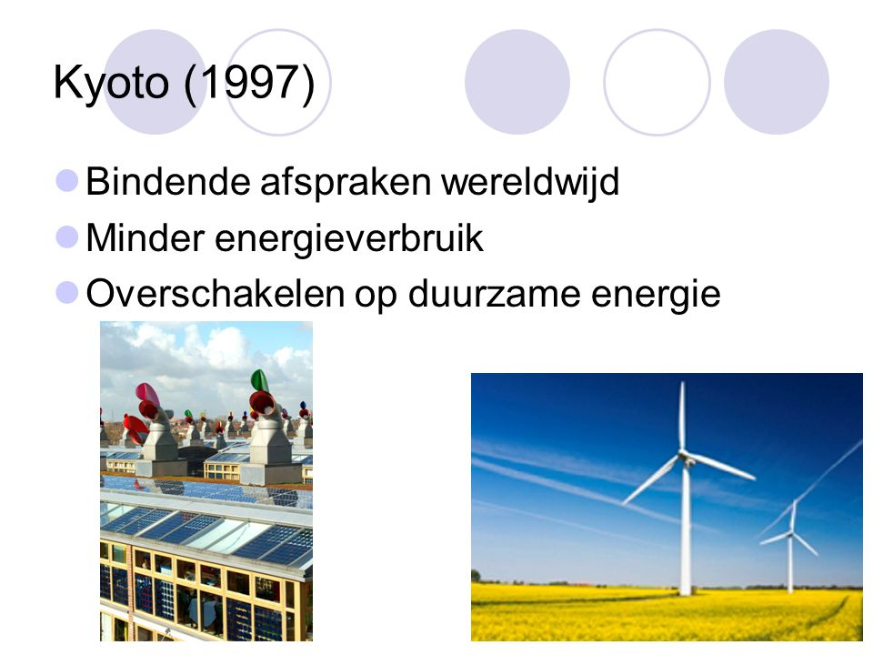 Kyoto (1997) Bindende afspraken wereldwijd Minder energieverbruik