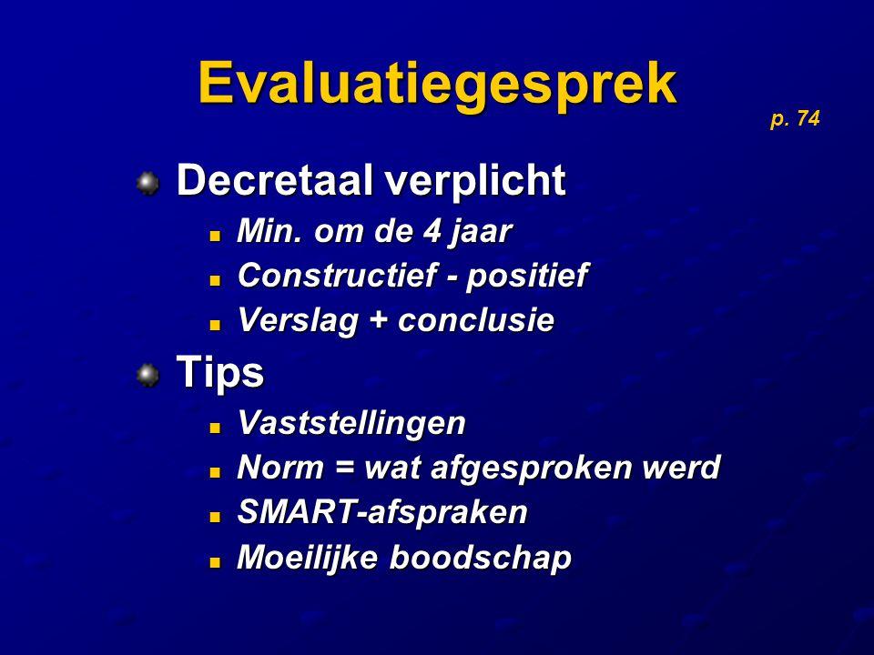 Evaluatiegesprek Decretaal verplicht Tips Min. om de 4 jaar