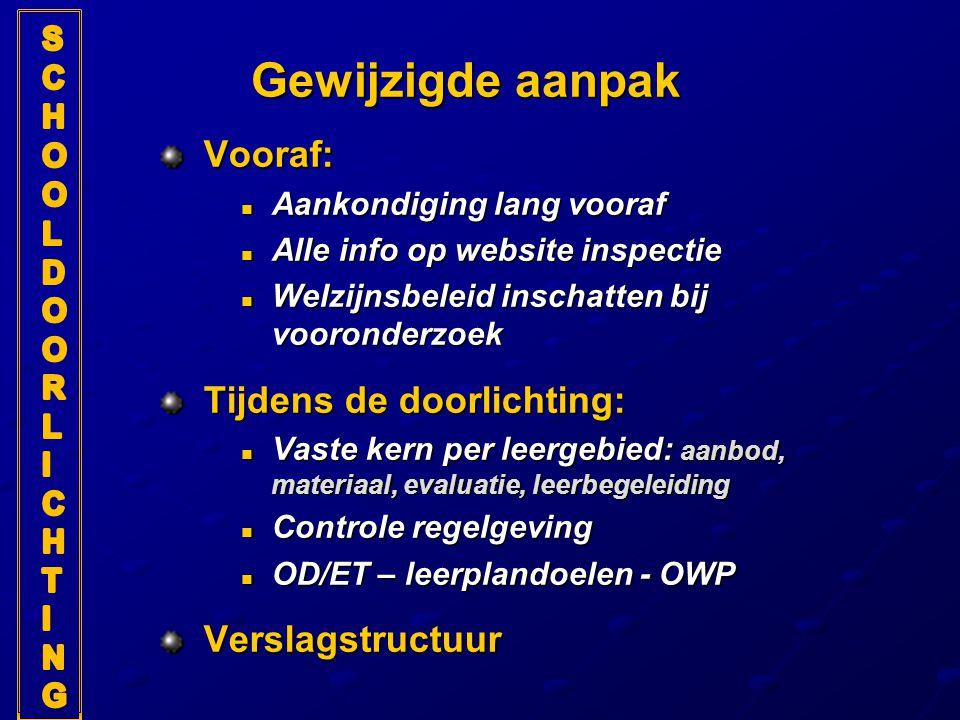 Gewijzigde aanpak Vooraf: Tijdens de doorlichting: Verslagstructuur