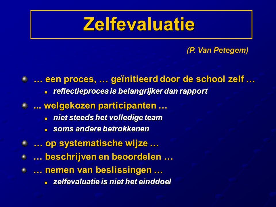 Zelfevaluatie … een proces, … geïnitieerd door de school zelf …