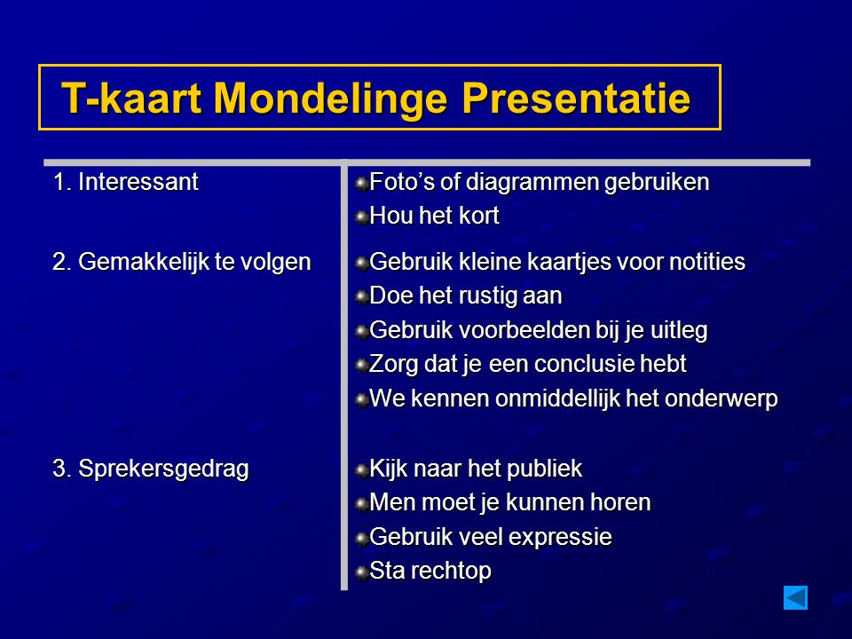 T-kaart Mondelinge Presentatie